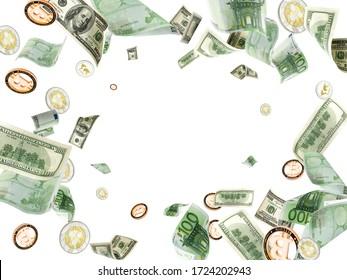 Money background. Hundred dollar, Bitcoin, euro business money falling. Usd bill cash isolated