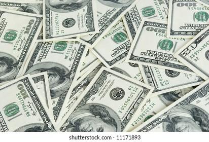 Money background from hundreds dollars