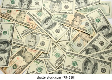 Money background. Mixed dollars in Cash.