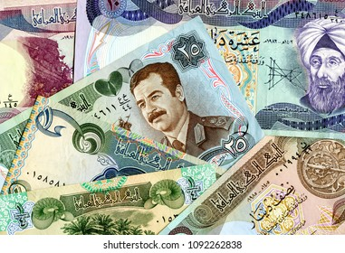Money background from old paper currency of Iraq