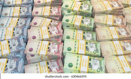 Money background, Saudi Riyal ten, fifty, one hundred, and five hundred bills.