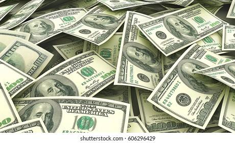 Money background. Screen full of dollars. 3d illustration