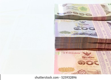 Money background ,Thai currency on White background ,Stack of thai baht