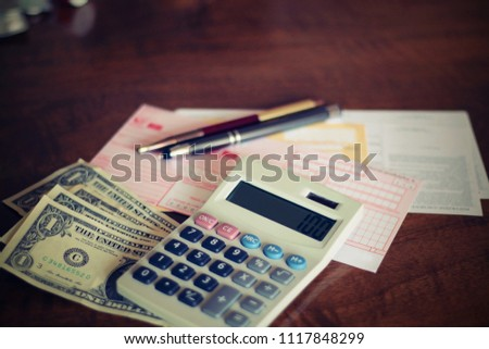 Money background usa dollars calculator pencils stock photo (edit.