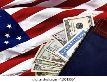 Money bag containing a social security card with US currency poking out of the bag on an American Flag
