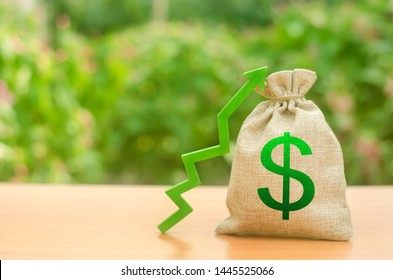 Money bag with dollar symbol and green up arrow. Increase profits and wealth. growth of wages. Favorable conditions for business. Investment attraction. loans and subsidies. favorable conditions