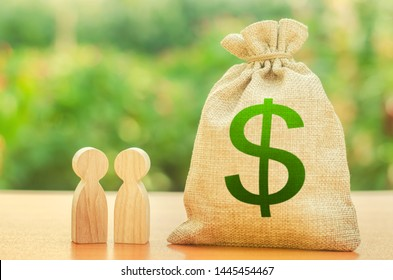 Money bag with dollar symbol and two people figures. Investment and lending, leasing. Business dispute and its solution between two businessmen. Available loans and subsidies, government support