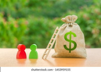 Money bag with dollar symbol and wo human figures near a ladder. Startup and crowdfunding. Deposit and savings. Achieving the goal and the accumulation of the amount of money, loan restructuring