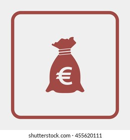 Money bag with euro sign illustration.
