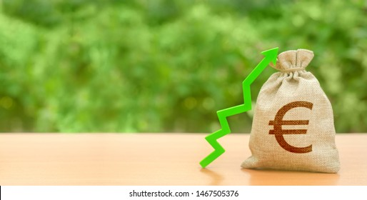 Money bag with Euro symbol and green up arrow. Increase profits and wealth. growth of wages. Investment attraction. loans and subsidies. favorable conditions. Favorable conditions for business.