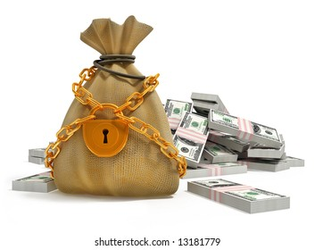 money bag with gold lock and dollar packs isolated 3d illustration