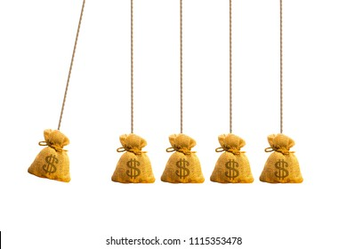 Money bag hanging newton cradle pendulum symbol with rope, Momentum as a group of a business investment concept.