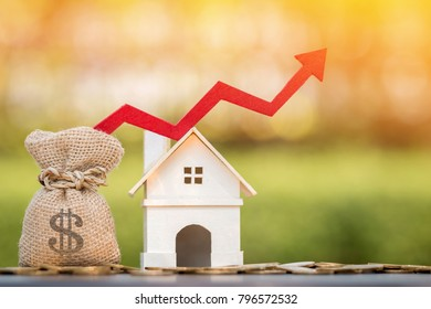 Money bag and home and red arrow graph with growing value put on the coin on bokeh background in the public park, for currency and financial business investment and fund real estate concept.