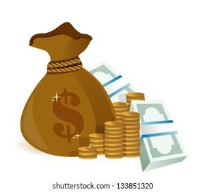 money bag illustration design graphic over a white background