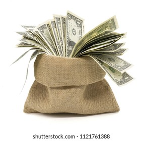 money in  bag isolated white background with clipping path