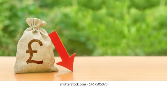 Money bag with pound sterling symbol and red arrow down. depreciation of the pound, economy fall and the breakdown of economic ties. Brexit. economic difficulties, departure of capital Falling wages