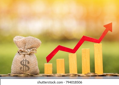 Money bag and red arrow and gold bar graph with growing value put on the coin on bokeh background in the public park, for currency and financial business investment to future and fund concept.