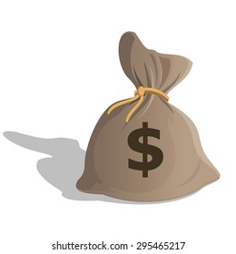 Money bag or sack cartoon style icon with dollar sign isolated on white background. illustration