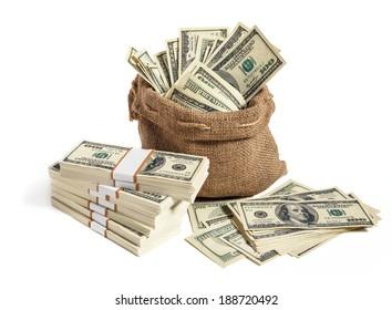 Money bag / studio photography of bag with hundred dollar bills