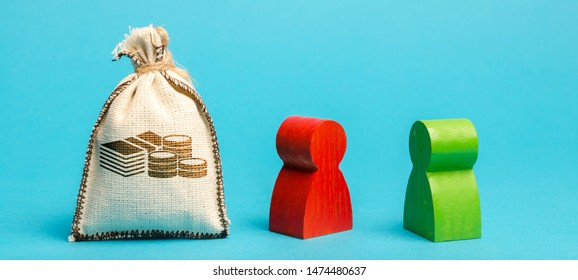 Money bag and two businessmen. Lender and borrower. Debt discussion. Financial conflict. Profit separation. Business deal between opponents. Problem solving. Competition