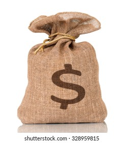Money bag with US dollar sign, isolated on white background