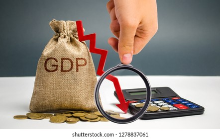 Money bag with the word GDP and down arrow. Decline and decrease of GDP - failure and breakdown of economy and finances leading to financial crisis and trouble. Drop in gross domestic product