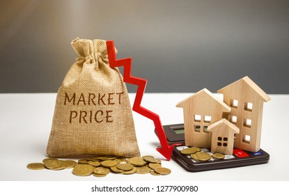Money bag with the word Market price and an arrow down with a calculator and wooden houses. Reduced housing prices. The fall and crisis of the real estate market. Low rent