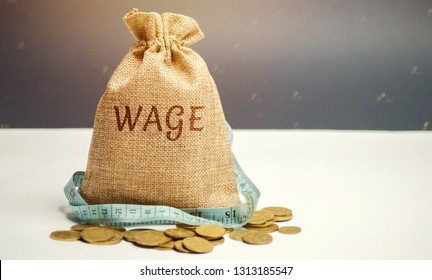 Money bag with the word Wage and tape measure. Wage cuts. The concept of limited profit. Lack of money and poverty. Small income. Salary reduction. Unsuccessful business. Financial crisis