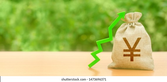 Money bag with Yen or yuan symbol and green up arrow. Increase profits and wealth. growth of wages. Investment attraction. loans and subsidies. Favorable conditions for business.
