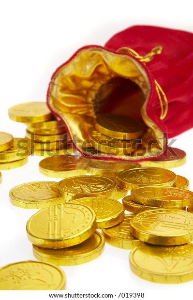 money bags with coins on a white background