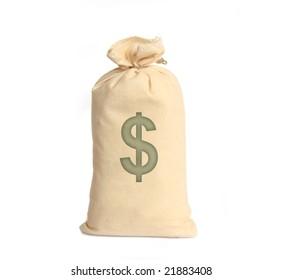 Money bags on white
