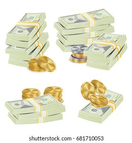 Money Banknotes Stacks .  Cash, Gold Coins, Banknotes Piles Illustration