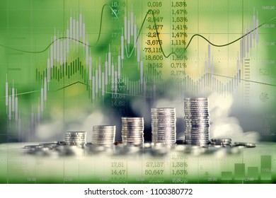 Money bars as financial growth. Charts, calculations, stock quotes. Double exposure.