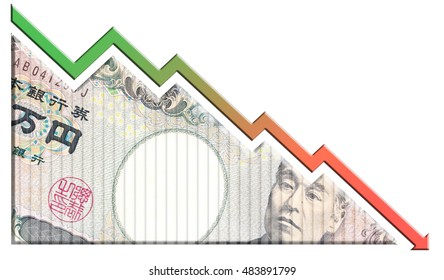 A money bill looking like a declining graph with an downward pointing arrow symbolizing economic relationships.