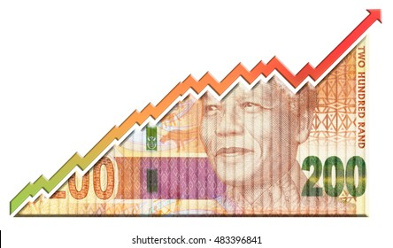 A money bill looking like a growth graph with an upwardspointing arrow symbolizing economic relationships.