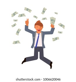 Money bills fall on businesswoman jumps with happiness. Business people jumping up celebrating success. Flat Rastered copy