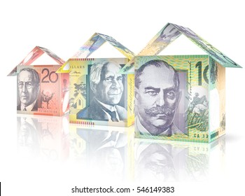 Money bills folded like houses standing next to each other declining in size and value.