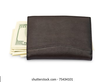 Money in a black purse is isolated on a white background