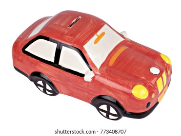 Money box car isolated on white background top view with clipping path .