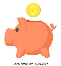 Money box icon. Cartoon illustration of money box  icon for web