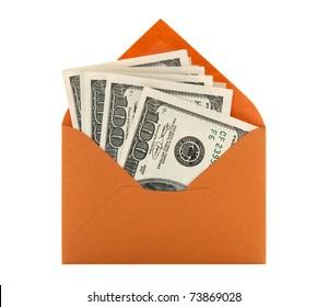 Money in a bright orange envelope, isolated on white background.