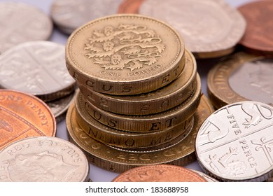 Money British pound sterling coins and paper