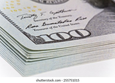 money and business concept - many dollars banknotes