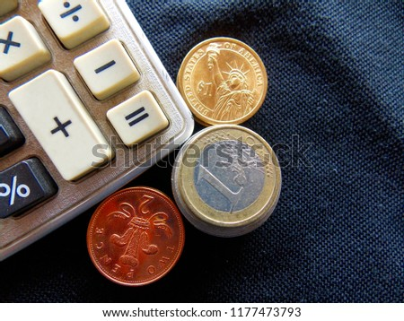 Money calculator coins currency us uk stock photo (edit now.