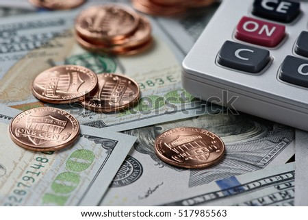 Money With Calculator Financial Background Dollars And Cents