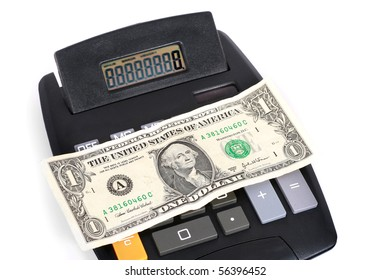 money with calculator isolated with white background