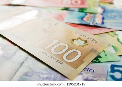Money from Canada: Canadian Dollars. Bills spread and variation of amounts.