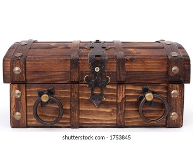 Money chest. Concept of: business, money, pirates and treasure, isolated over white, macro closeup, close-up with copy space