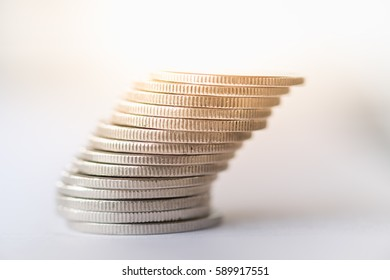 Money, Close up of stack of silver coins