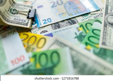 Money  close up. American dollar and euro bills.